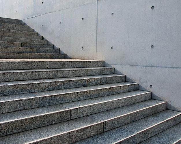 Dark concrete steps